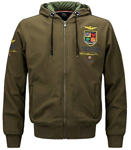 JIINN Men's Mode Loisir épais Base-Ball Broderie Veste Bomber Air Force Jacket L'automne Hiver Chaud Militaires Hommes Sweat à Capuche Sweat-Shirt Manteau (EU Medium, FR#1613 Green Army)