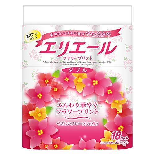スマートマットライト エリエール トイレットペーパー フラワープリント 25m×18ロール ダブル パルプ100% 優雅な花の香り