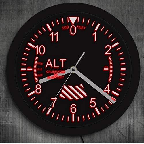 Guokaixyz Wanduhr Militärhöhenmesser Tracking Led Wanduhr Höhenmesser Wanduhr Flugzeug Höhenmesser Instrument Stil Uhr Geschenk Für Pilot-Led