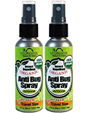 US Organic Mosquito Repellent Anti Bug Outdoor Pump Sprays, USDA Certification, Cruelty Free, Proven Results by Lab Testing, Deet-Free (2 oz - Value 2 Pack)