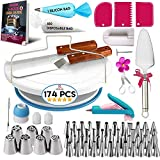 174 PCs Cake Decorating Supplies Kit for Beginners-1 Turntable stand- Cake server & knife set-48 Numbered Easy to use icing tips with pattern chart and E.Book-7 Russian Piping nozzles -2 Spatulas