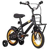 Festnight Bicicleta Niños y Portaequipajes Delantero 12 Pulgadas Bicicleta Infantil para Niños y Niñas a Partir de 4 Años Negro y Naranja