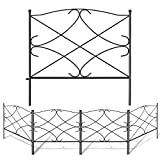Amagabeli Decorative Garden Fence 24in x 10ft Outdoor Rustproof Metal Landscape Wire Fencing Folding Wire Patio Fences Flower Bed Animal Dogs Barrier Border Edge Section Edging Decor Picket Black