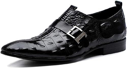 ZIXUAP - zapatos de Piel para Hombre, Diseño de Piel de cocodrilo, para Negocios, para Hombre, con Hebilla, Puntiagudos, para Hombre, plástico, A, 39 100.00watts