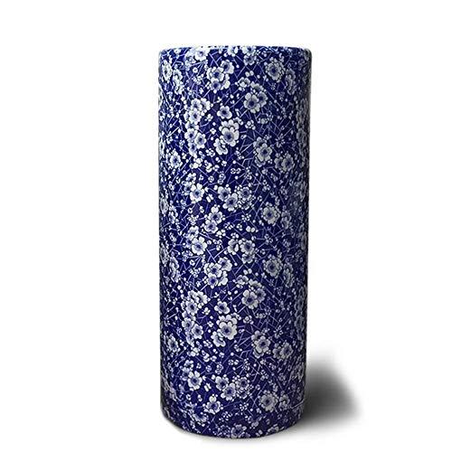 QI-shanping Floral Azul y Blanca de Porcelana paragüero Jarrón, Cerámica Paraguas del sostenedor del Estante for Bastones/Bastones, Home Office Puerta de Entrada Decoración (Size : S-Ø11×H33.5cm)