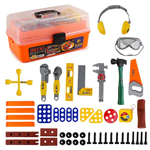 deAO 48 Pieces Workshop Tool Play Set with Portable Tool Box Case, Toy Tools, Drill and Accessories Included