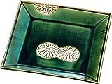 五陶(Goto) 菓子器 緑 サイズ:縦21x横21x高さ3.1cm 織部 四方 菊抜 化粧箱入