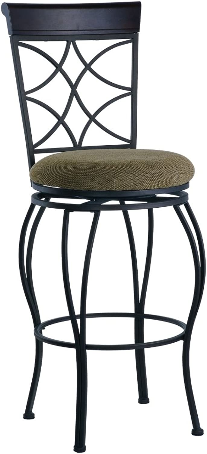 Curves Counter Stool 24  Seat Height (Metallic Brown & Brown Wood Finish) (40...
