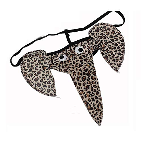 1PC Sexy Tong Men Elephant Underwear T-back Pants Christmas Gag Gift Funny Gift(Leopard)