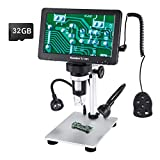 7 inch LCD Digital USB Microscope with 16G TF Card,Koolertron Upgraded 12MP 1-1200X Magnification Camera Video Recorder,Wired Remote,Rechargeable Battery for Circuit Board Soldering PCB Coins Outdoor