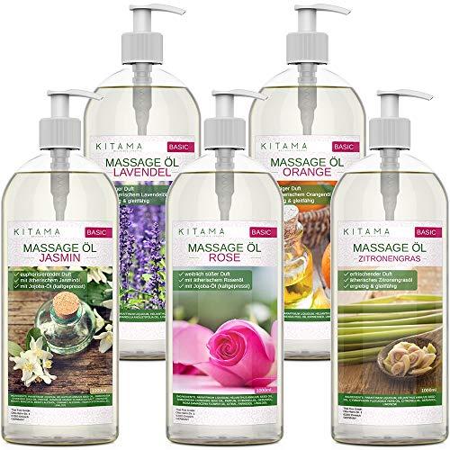 MyThaiMassage Massageöl Aroma Set 5 x 1000ml - Aroma Jasmin, Rose, Orange, Lavendel, Zitronengras