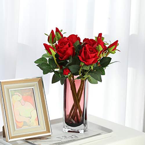 Hawesome 6 Künstliche Rosen Kunstblumen Kunstrosen Flanell rot weiß Rose Dekoration Hochzeit Blumenstrauß Raum Ausgestaltung Blumenarrangement Garten Party Büro Blumenschmuck 18 Rosenköpfe - 3