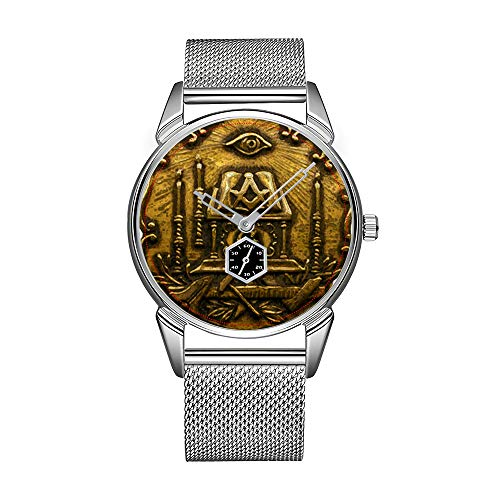 Mode herrenuhr Silber Edelstahl wasserdicht Uhr männer top Marke herrenuhr Uhr Messing Freimaurer Bild Uhr