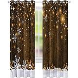 Cortina para ventana de madera de Navidad y copos de nieve W52 x L72 cortina de oscurecimiento para sala de estar