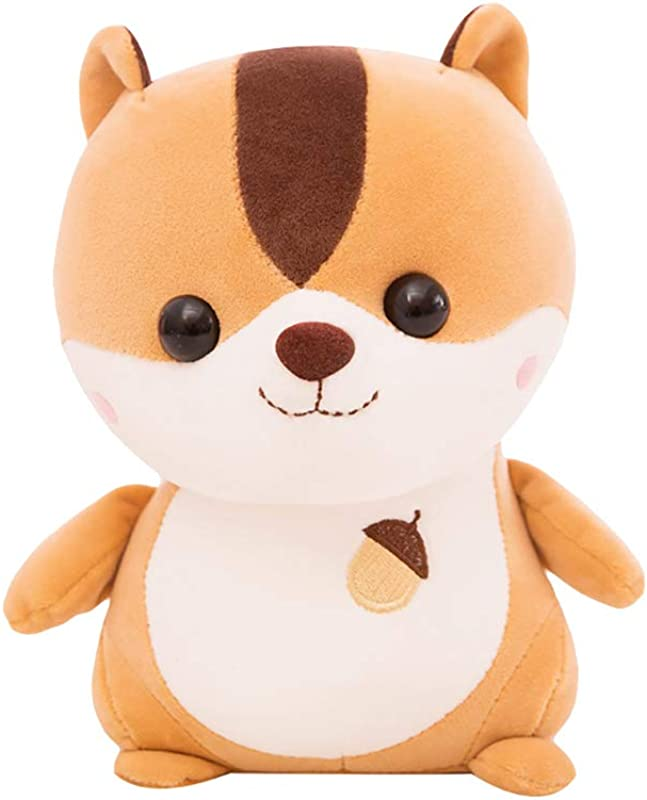 LW 25cm Lovely Soft Squirrel Animal Doll Stuffed Plush Toy Cute Stuffed Dolls Sofa Pillow Brown