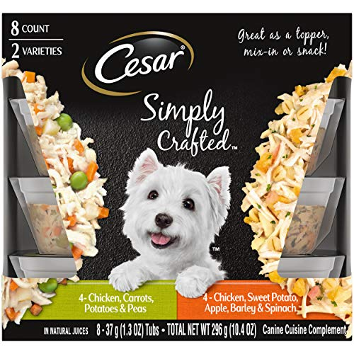 CESAR SIMPLY CRAFTED Adult Soft Wet Dog Food Meal Topper Variety Pack, Chicken, Carrot, Potato & Peas and Chicken, Sweet Potato, Apple, Barley & Spinach, (16) 1.3 oz. Tubs