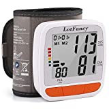 """LotFancy Blood Pressure Monitor Wrist Cuff (4.9""""-8.1""""), Automatic Digital BP Monitor with Irregular Heartbeat Detector, 2 Users, 180 Reading Memory, Home BP Machine Accurate Gauge,Large LCD Display"""