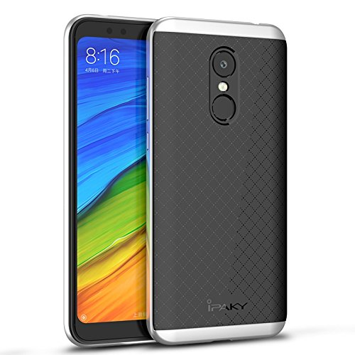 Xiaomi Redmi 5 Funda, Ipaky Protección interna TPU Flexible [Ultra Resistente] Marco Exterior Rígido PC efecto Metal [Anti Golpes] Carcasa Híbrida Bumper Redmi 5 - Plata