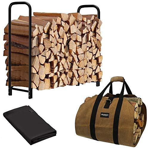 Amagabeli 4ft Firewood Rack Bundle 4ft Firewood Log Rack Cover Bundle Fireplace Carrier Waxed Canvas