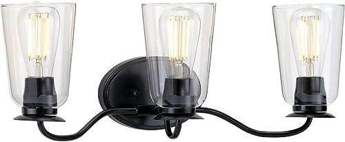 2021 Durrell wholesale Collection 3-Light popular Clear Glass Coastal Bath Vanity Light Matte Black online