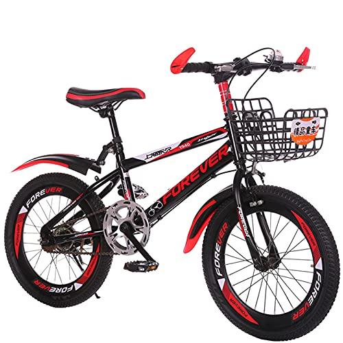 Axdwfd Infantiles Bicicletas Bicicletas de 18/20 Pulgadas para niños y niñas, adecuados para niños de 7 a 14 años, 2 Colores, con Guardabarros y paréntesis. (Color : Red, Size : 20in)