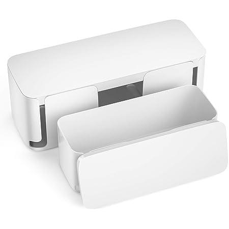 Mudeela 2 Stück Kabelbox Groß Und Klein Kabelmanagement Box Mit Belüftung Kabel Organizer Zum Verstauen Von Steckdosenleisten Weiß Baumarkt