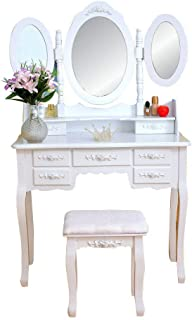 Tri-Folding Mirror Dressing Table Set 7 Flower Drawers with 1 Shelf Makeup Studio Vanity White Wood Queen Anne Style Legs Dresser Bedroom Table Can Remove Be Desk
