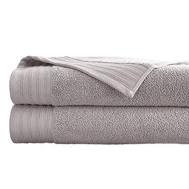 Amrapur Overseas 2-Pack 100% Combed Cotton Super Soft Oversized 450GSM Quick-Dry Bath Sheet Set [Gray Violet]