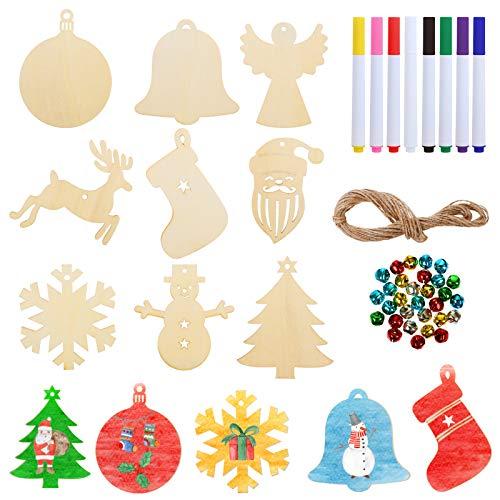 LIHAO 62 TLG Holzanhänger Weihnachten Deko DIY Basteln zum Bemalen Holz Anhänger Tannenschmuck mit Buntem Glöckchen Schneeflocke Schneemann Elk Weihnachtsmann Engel für Weihnachtsbaum Schmuck