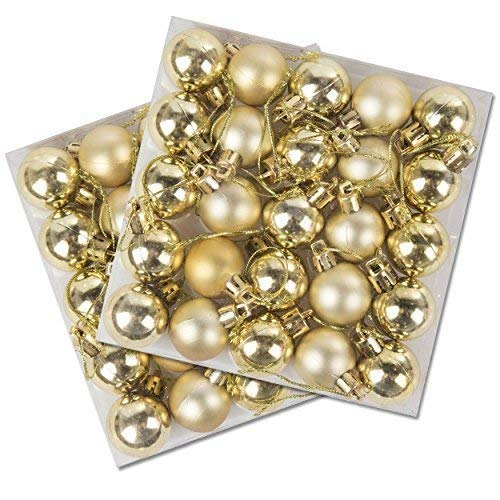 Robelli Pack of 50 Miniature Shiny & Matte Christmas Tree Baubles (Gold)