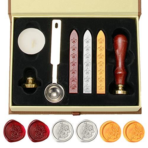 ZITFRI Kit Ceralacca per Sigilli Timbro Ceralacca Wax Seal con 2 Copper Head e 1 Manico in Legno e 1 Cucchiaio di Fusione e 1 Candela Bianca e 3 Striscia di Ceralacca per Lettere (Rosa e For You)