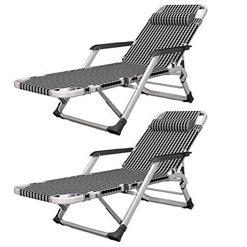 Tumbonas plegables exterior Silla reclinable Juego de 2 silla de gravedad cero, silla reclinable plegable de la gravedad cero jardín Tumbona, Ministerio del Interior Balcón siesta Ocio Siesta Textolin