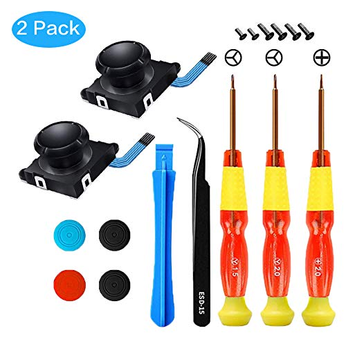2 Pack 3D Replacement Joystick Analog Thumb Stick for Nintendo Switch Joy-Con Controller - Include Tri-Wing & Screwdriver Tool