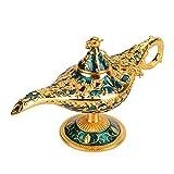 Lámpara de luz Genie, luz de Aladdin Magic Genie Light Metal tallado lámpara de leyenda hueca que desea lámpara de luz Pot Decor(#2)