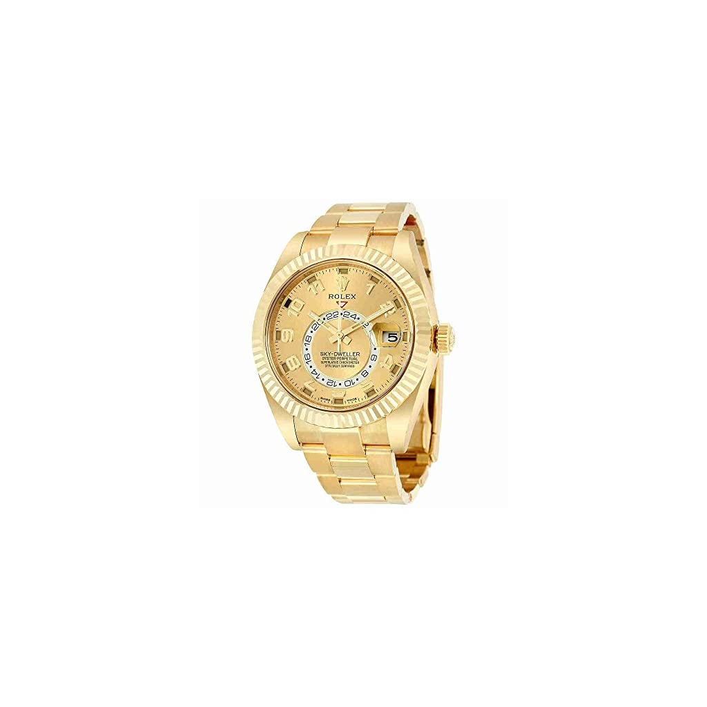 Fashion Shopping Rolex Sky Dweller Champagne Dial GMT 18kt Yellow Gold Mens Watch 326938CAO