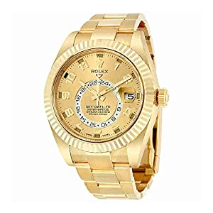 Fashion Shopping Rolex Sky Dweller Champagne Dial GMT 18kt Yellow Gold Mens Watch