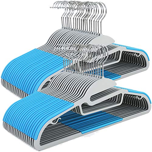 SONGMICS Kleiderbügel, 50 Stück, Antirutsch, Premium-Qualität, langlebig und dünn, 0,5 cm dick, platzsparend, starker hochwertiger Kunststoff, für Erwachsene, 41,5 cm breit, Blau CRP41Q-50