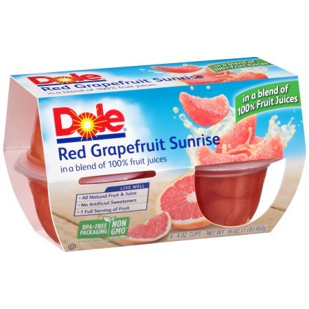 DOLE FRUIT BOWLS Red Grapefruit Sunrise in a Blend of 100% Fruit Juice 4 Count Cups Pack of 6