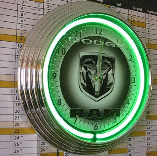 NEONUHU NEON CLOCK DODGE RAM PICKUP WANDUHR NEON GRIS