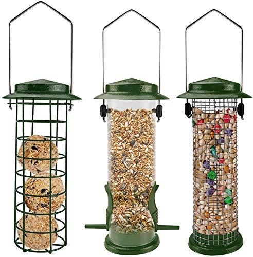 Urban Deco Metal Wild Birds Feeders Mesh Feeding Stations with Steel Hooks Hangers for Hanging Fat Balls Peanuts Sunflower Seeds for Outdoor Backyard Garden Weather Proof (Set of 3 Green)