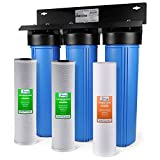 iSpring WGB32B 3-Stage Whole House Water Filtration System w/ 20-Inch Big Blue Sediment and Carbon Block...