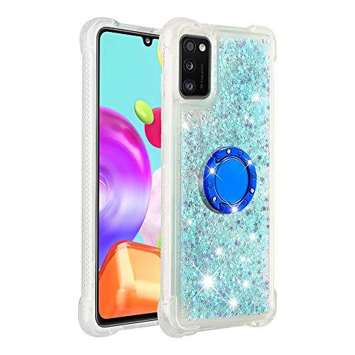 Coque pour Samsung Galaxy A41,Brillante Cristal Diamant Anneau Socle de téléphone Liquide Dégradé Transparente Silicone TPU Étui Antichoc Coques(Étoiles Bleues fluorescentes)