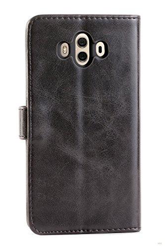 Mulbess Handyhülle für Huawei Mate 10 Hülle, Leder Flip Case Schutzhülle für Huawei Mate 10 Tasche, Schwarz - 3