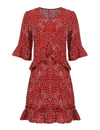 Parabler Damen V Ausschnitt Sommerkleid Strandkleider Partykleider Blusenkleid A Linie Halbarm mit Rüschen Polka Dot Causual Kleid (EU 44(Herstellergröße:XXL), Weinrot)