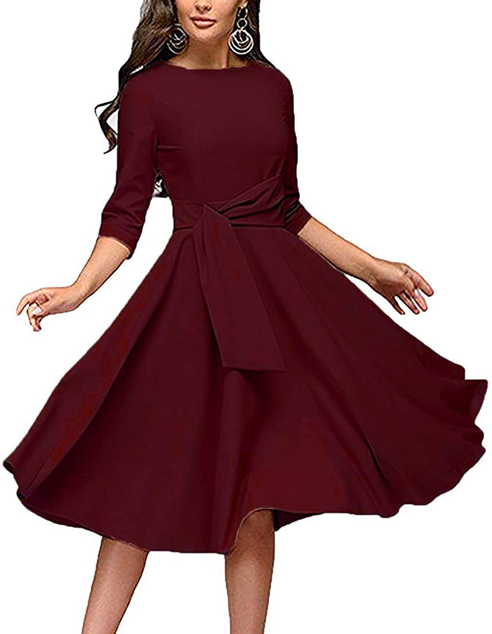 Women's Elegance Audrey Hepburn Style 3 Dress NEW before selling Ruched Neck Round Lowest price challenge