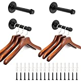 Sumnacon 4 Pcs 7.7 Inch Industrial Pipe Clothes Bar - Heavy Duty Rustic Metal Coat Hanger with Screws, Wall-Mounted Garment Holder Rack for Bedroom/Bathroom/Cabinet/Boutique/Clothing Store, Black