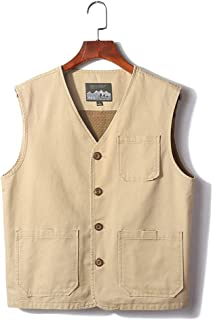 Vest Men's vest Summer Thin Section Spring and Autumn vest Outdoor vest (Color : Beige, Size : XXL)