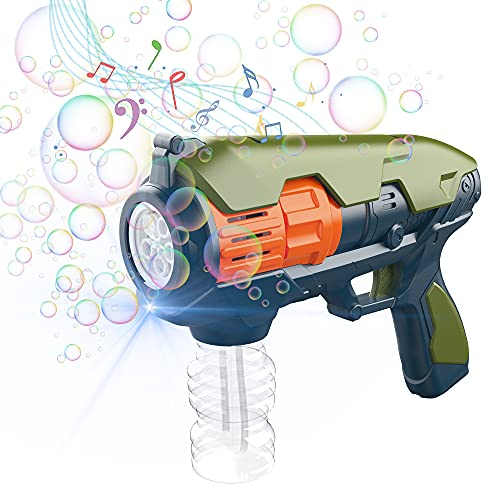 CAMFUN Pistola a Bolle,Macchina a Bolle elettrica,Bubble Gun Gatling Esterno Macchina per Ragazzi/Bambini, Pistola a Bolle per Animali Domestici,Verde