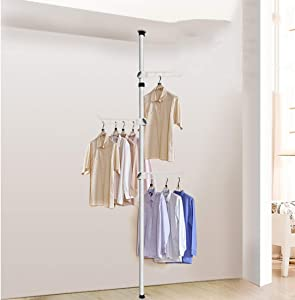Dxtxx Retractable Wardrobe Clothes Shelving System  Single Pole Height Adjustable  Non-Porous Top Wall Bracket White