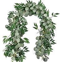 Amkun 1,8 m Artificial Dólar de Plata Hojas de eucalipto y Sauces Vines Ramitas Hojas Guirnalda Cadena para el hogar Fiesta Decoración de la boda Interior al aire libre